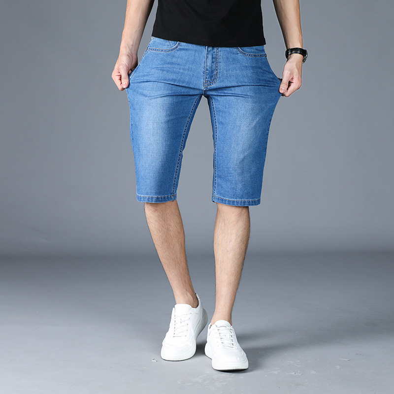 Summer Men'S Wear Lard-bucket Casual Jeans Plus-sized BOY'S Thin Shorts Versatile Stylish Loose Wear Cowboy Breeches