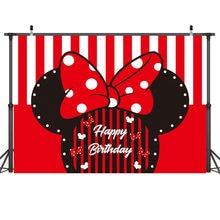 Arrière-plan de fête Mickey Mouse 210x150cm, toile de fond murale en tissu, décoration de fête d'anniversaire, disposition de photographie en Studio