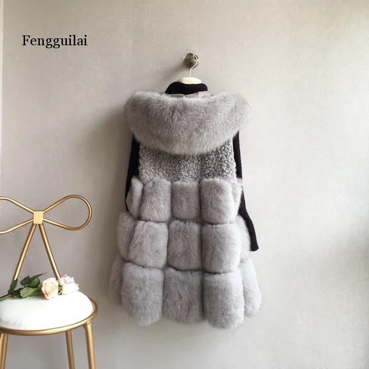 Brand New Women Long Section Warm Fake Fox Fur Vest Man-Made Female Patchwork <font><b>Sexy</b></font> <font><b>Hit</b></font> Color Waistcoats Faux Fur Vest image