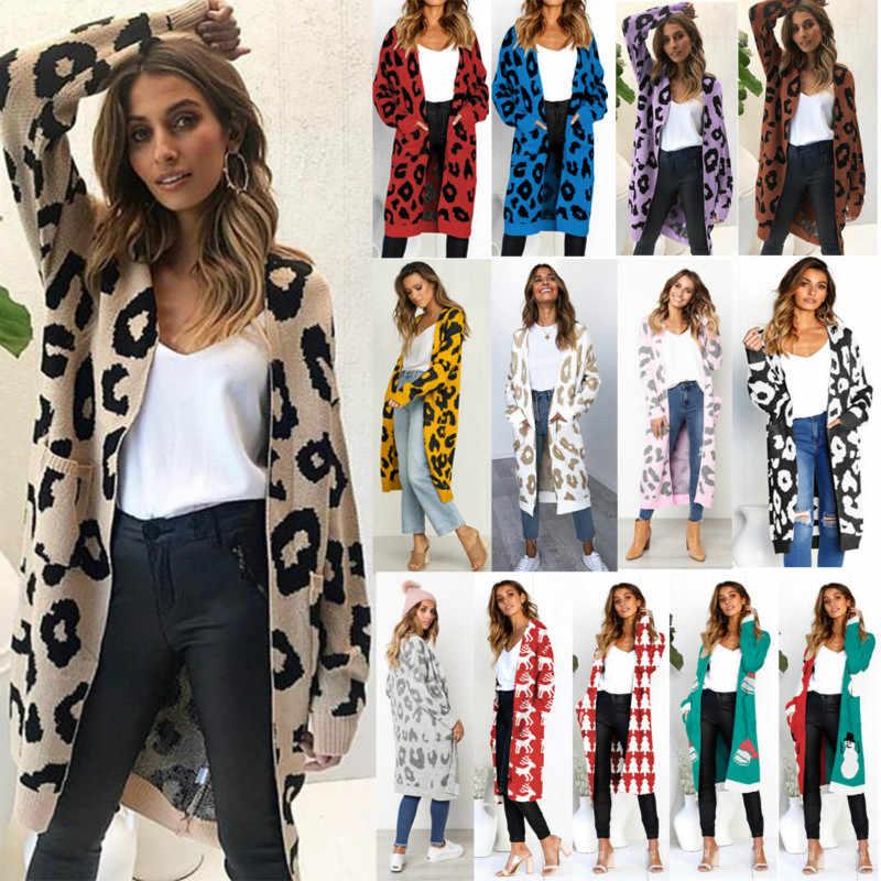 2019 sonbahar yeni kadın leopar eğlence Ins tarzı örme uzun hırka uzun kollu kazak palto kadın bayan dış giyim mont