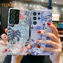 Bransoletka marmuru kwiaty etui na telefony komórkowe dla Samsung Galaxy S21 Ultra A52 A72 A51 A71 A12 A32 A42 A50 A70 S20 FE S9 S10 Plus uwaga 20 pokrywa
