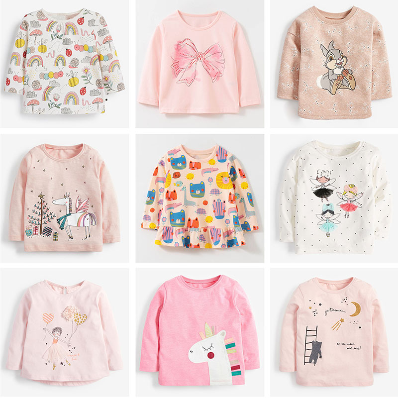 Brand 100% Cotton Baby Girls t shirts 1-7Y Kids Clothing Clothes Children Long Sleeve t-shirt Girls Blouses Undershirt Tops 2020 1