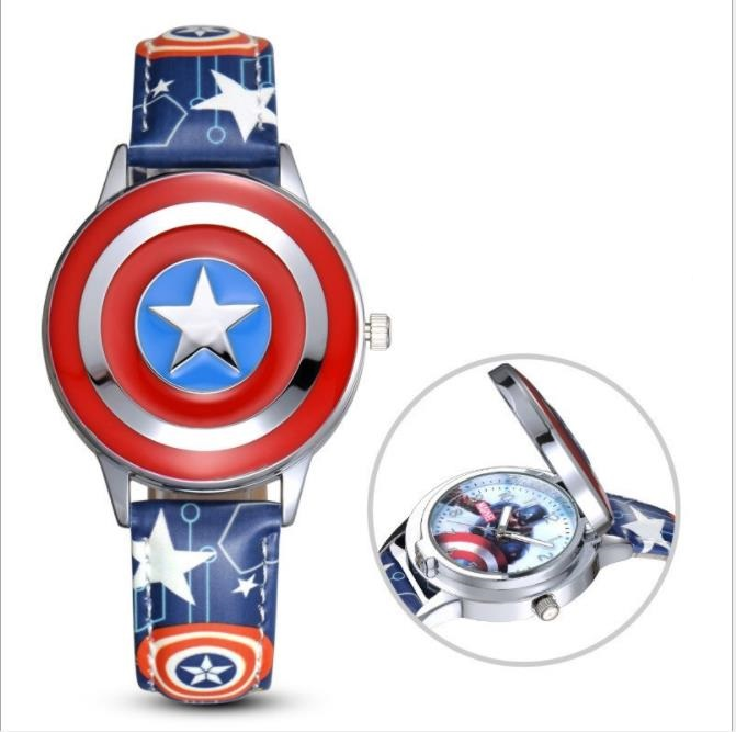 Hero  Captain America Spiderman Ironman  Watch Child Leather Quartz Flip Metal Case Watches Super Hero Boys Clock