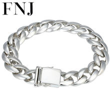 FNJ 925 Silver Bracelet Statement 20cm Link Big Chain Width 13mm Original Pure S925 Silver Bracelets for Men Jewelry Fine(China)