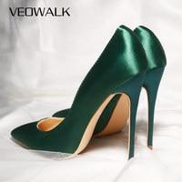 Veowalk-zapatos de tacón alto de seda para mujer, elegantes y sexys, de punta estrecha, cómodos, para fiesta, personalizados