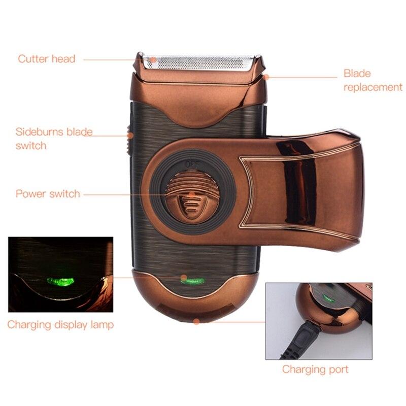 Barbeador elétrico portátil mini aparador de barba