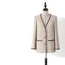 2019 Autumn women high quality V-neck plaid tweed coat Fashion korean style loose B018