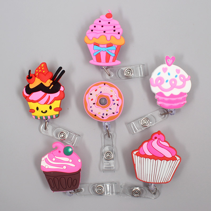 1 Pc New Cute Donuts & Cake Retractable Pull Nurse Students Badge Reel ID Lanyard Name Tag Card Badge Holder Reels For KIDS