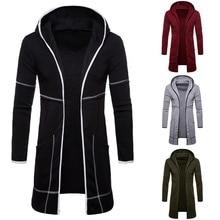 SFIT NEW Men Sweatshirt Black Gown Hip Hop Mantle Hoodies Brand Fashion Streetwear Long Open Front Cloak Mans Coat Jacket