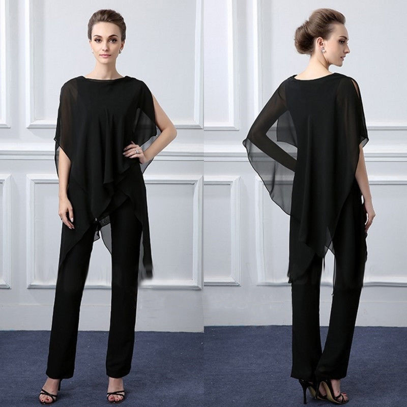 Black Chiffon Mother Of The Bride Dresses Pants Suits Party Drese Custom Size