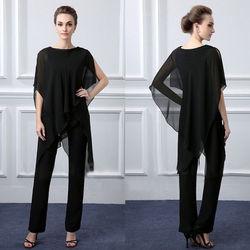 Zwarte Chiffon Moeder Van de Bruid Jurken Broek Past Party Drese Custom Size