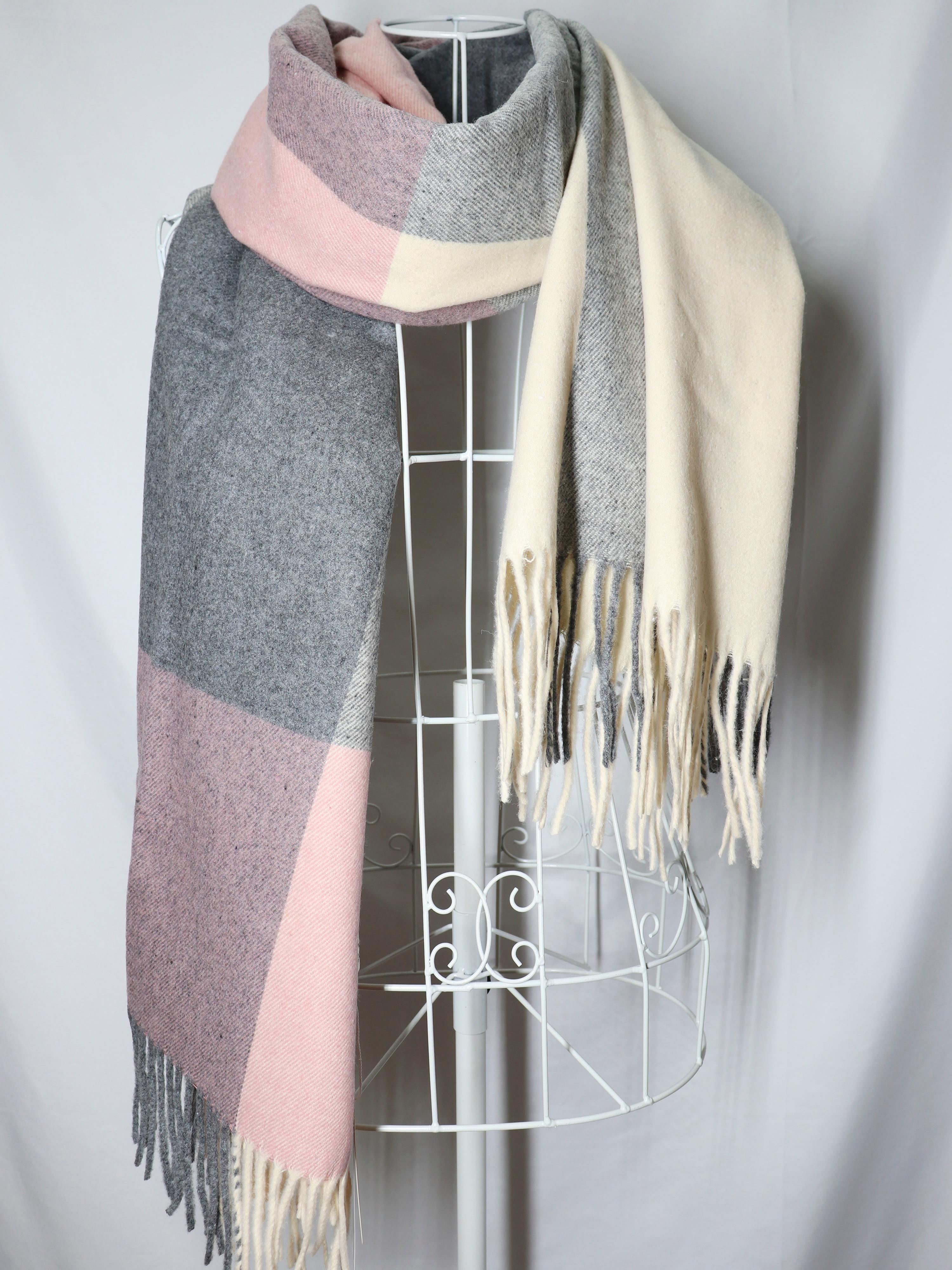 Новинка 2019, осенний и зимний шерстяной клетчатый шарф, Женский высококачественный длинный стильный универсальный шарф, утолщенная теплая