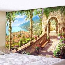 Ретро замок гобелен с пейзажем в виде индийской мандалы настенный