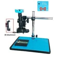 30mp 2 k hdmi 디지털 usb 비디오 microscopio 카메라 3d 180x 300x 조정 가능한 c 마운트 렌즈 led 조명 납땜 전화 pcb 수리