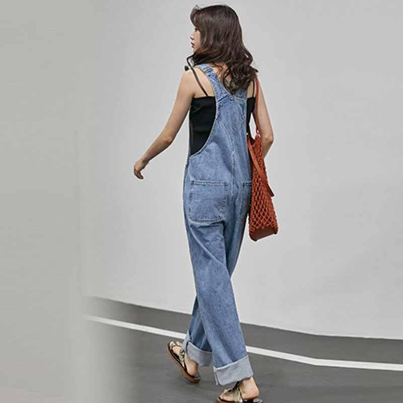 Koreaanse Japan Style Straight Losse Breed Sectie Denim Overalls School Hip Hop Streetwear Casual Leuke Slanke Vrouwen Wijde Pijpen Broek
