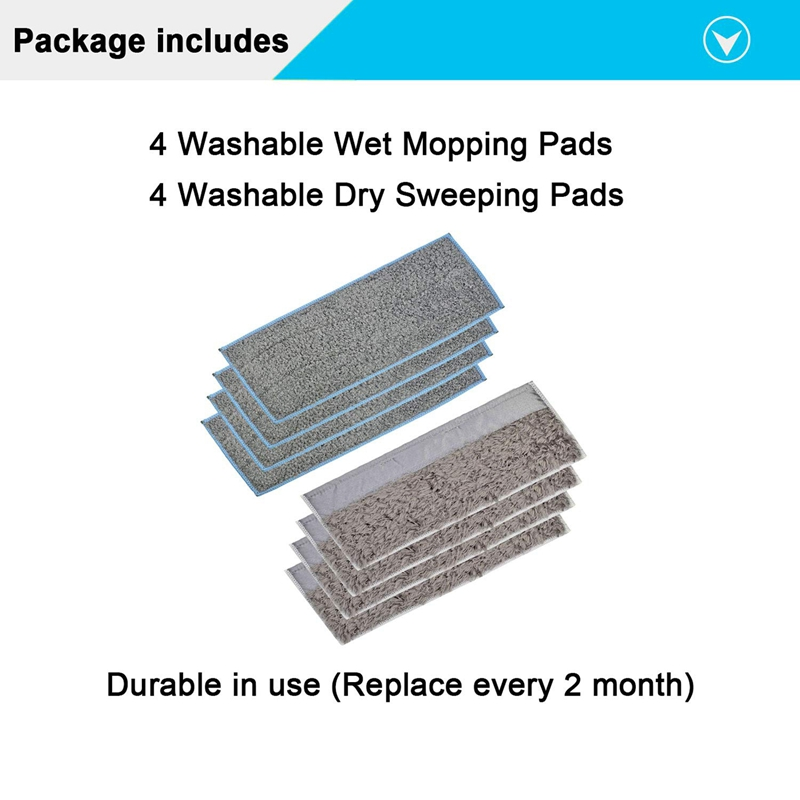 Image 3 - 4 Wet Pads & 4 Dry Pads Washable and Reusable Mopping Pads for IRobot Braava Jet M6 (6110) Robot MopVacuum Cleaner Parts   -