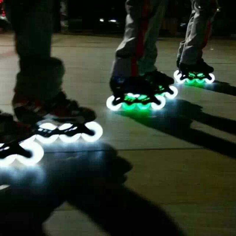 Cool Flashing LED Light Roller Inline Sliding Skating Flash PU Roller Skate Wheels 76MM 90A Hardness Durable Top Quality