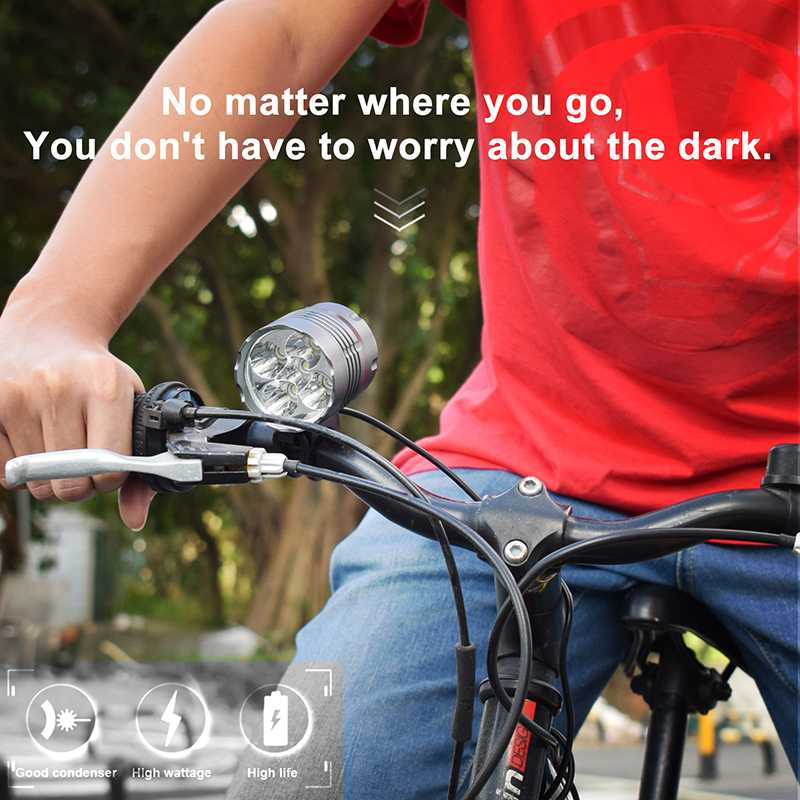 5* T6 LED Bike Front <font><b>Light</b></font> <font><b>7000</b></font> <font><b>Lumens</b></font> MTB Road <font><b>Bicycle</b></font> Headlight Super Bright 3 Modes 18650 Battery Night Safety Cycling Lamp image