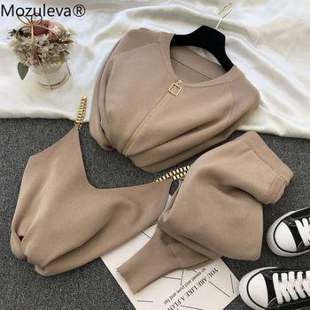 mozuleva  Women 2020 Autumn Winter Knitted  Vest Zipper Cardigans Pants 3pcs Sets Tracksuits Outfits 1