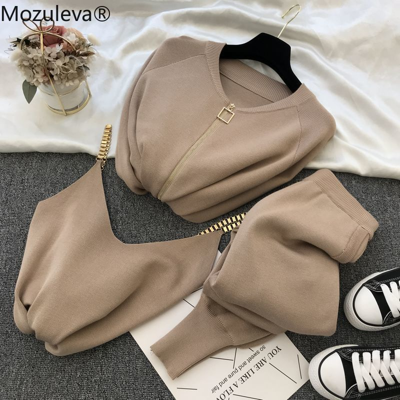 Mozuleva Frauen 2020 Herbst Winter Gestrickte Weste Zipper Strickjacken Hosen 3 stücke Sets Trainingsanzüge Outfits