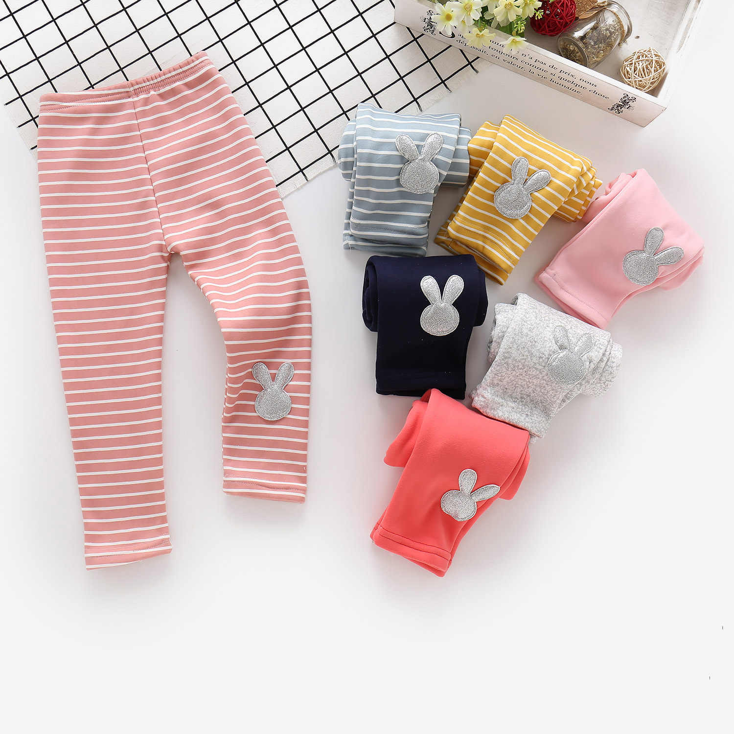 Baby Girls'plushed And Thickened Bottom Pants In Winter Children's Pure Cotton Outside Warm Pants