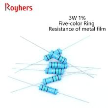 20Pcs 0R-22M 3W Filme De Metal Resistor 1% Tolerância 160R 300R 390R 510R 1K 2.2K 39 27 16 13 10K K K K K 2 Ohm Resistência Eletrônica