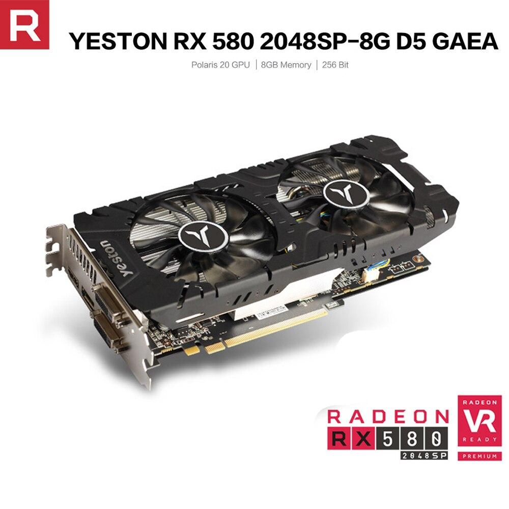 Yeston Radeon RX 580 GPU 8GB Gaming Desktop Computer PC Video Graphics Cards Support GDDR5 256bit DP*3/HD/DL-DVI-D