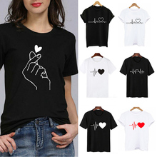 Hot Sale Women Print Heart T-shirts Funny Hands O-Neck Tops White Black Casual Tees Ladies Summer Short Sleeve T-shorts Simple