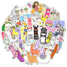 Llama Alpaca Cute Sticker Kawaii Cartoon Camel Sheep Animal For Case Kids Reward Scrapbooking Bike Car Decals Stickers 50PCS(China)