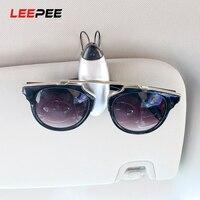 Leepee carro óculos titular universal fixador cip óculos de sol viseira titular portátil cartão de bilhete braçadeira carro óculos casos|Estojo de óculos| |  -