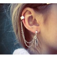 цены Single Earrings for Women Personality Leaf Tassel Cuff Ear Clip Gold Color Punk Earrings fashion Jewelry Stud Earring Gift