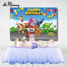 Inmemory super asas backdrops para foto estúdio bunting balões meninos festa de aniversário do chuveiro do bebê fotografia fundos personalizados