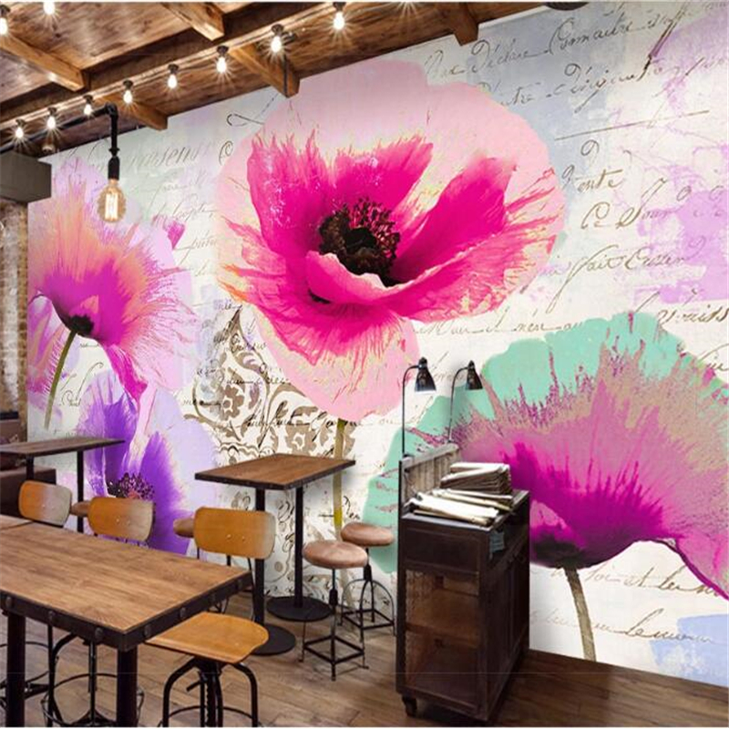 Wellyu Customized Large Mural Environmental Poppy Flower Nordic Oil Painting English Alphabet Background Wallpaper Papel De Pare
