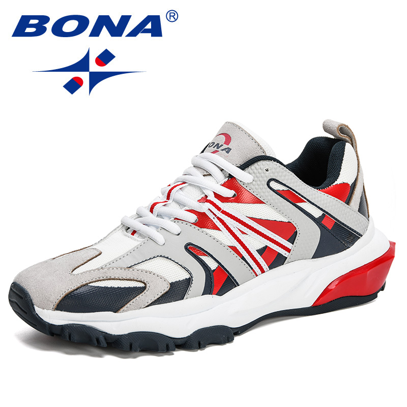BONA 2020 New Style Action Leather Outdoor Sport Shoes Men Running Shoes Jogging Shoes Trendy Sneakers Man Comfy Chaussure Homme