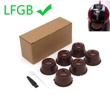 6 uds. Aptos para Dolce Gusto filtro de café taza reutilizable cápsulas de café filtros para Nespresso, con cuchara cepillo accesorios de cocina