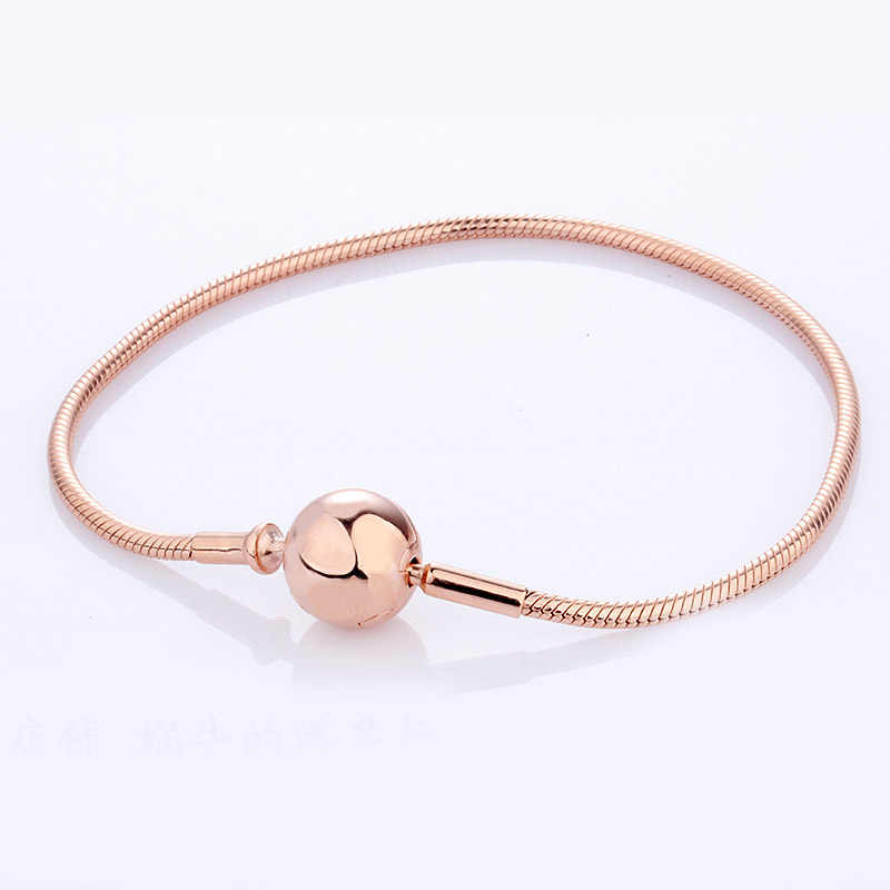 New 925 Sterling Silver Bracelet Ball Clasp Suitable Essence Rose Gold Bracelet Bangle Fit Women Bead Charm Diy Fine Jewelry