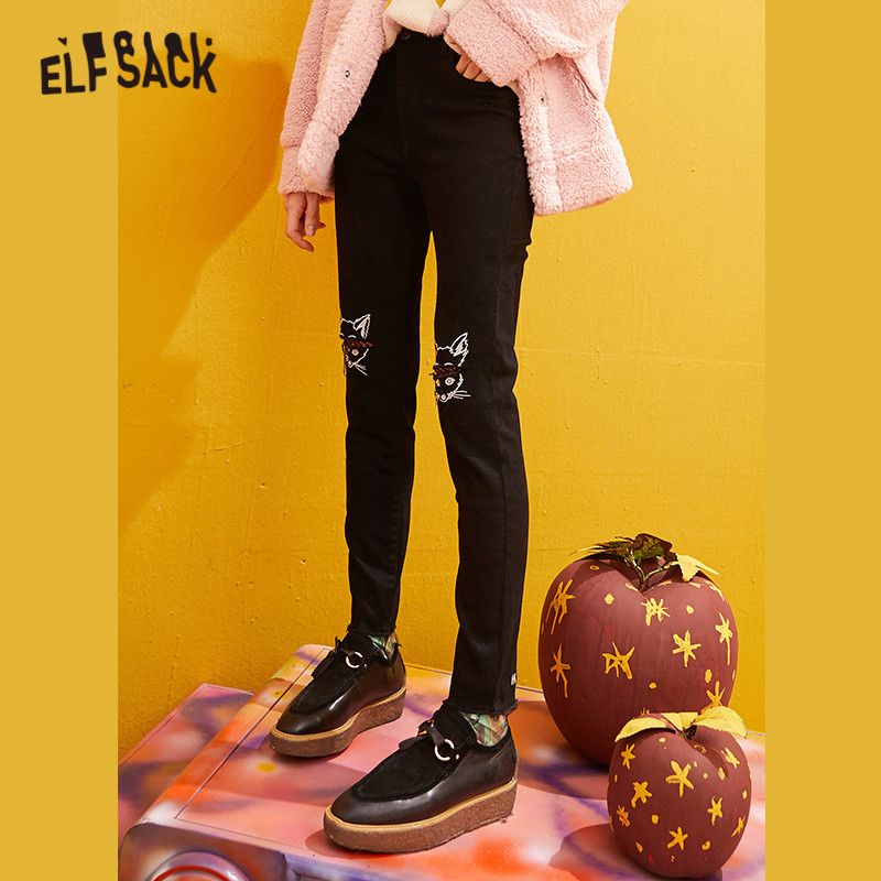 ELFSACK Black Solid Fox Embroidery Casual Jeans Woman 2019 Winter New Pure Ripped Skinny Office Ladies Basic Daily Trousers