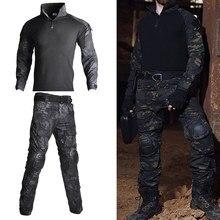 Exército dos eua tático militar uniforme airsoft camuflagem combate-comprovado camisas assalto rápido manga longa camisa batalha greve calças