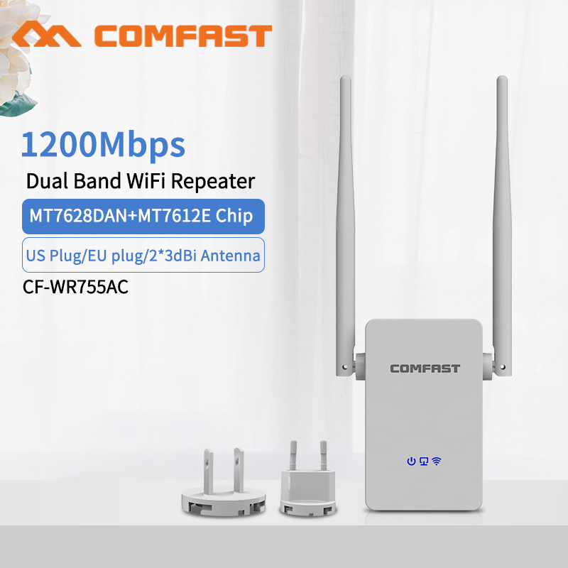 Wireless WiFi Repeater 5G WiFi Extender 1200Mbps Router Wifi Long Range Booster Wi-Fi Signal Amplifier AC 2.4G 5ghz Extender