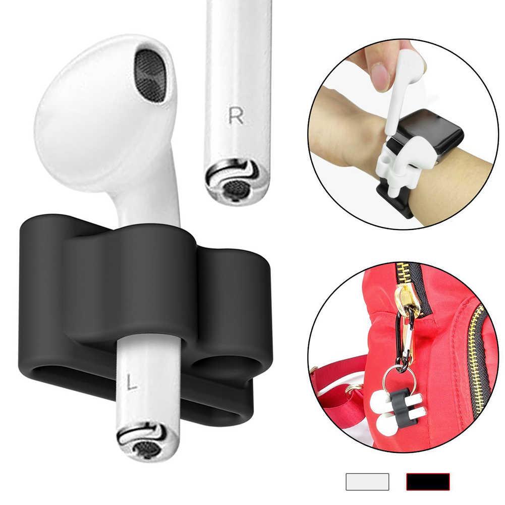 Baru Lembut Nyaman Silikon Tali Anti Hilang Penyimpanan Earphone Lengan Portable Headphone Pelindung Penyimpanan untuk Apple Udara Pods