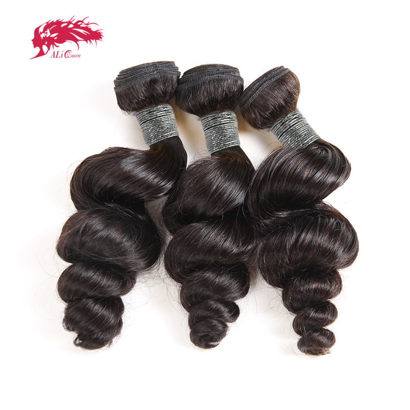 3Pcs Peruvian Loose Wave Hair Bundles Human Hair Extensions 10-26 Inch Non-Remy Hair Weaving Ali Queen Hair Natural Black Color