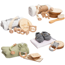1set Baby Milestone Set Cartoon Animals Cotton Blanket Bracelet Wooden Growth Memorial Baby Milestones Cards Birth Gift Products