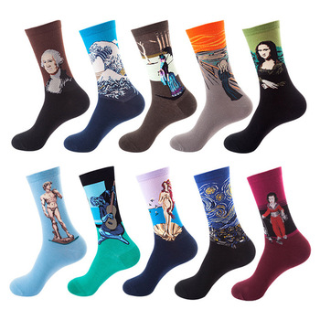 Men Cotton Retro Abstract Oil Painting Art Socks Shout Modern Van Gogh Starry Night Happy Oil Painting Skateboard Sock handmade cloth diy cotton canvas fabric van gogh oil painting handmade cotton decorative painting
