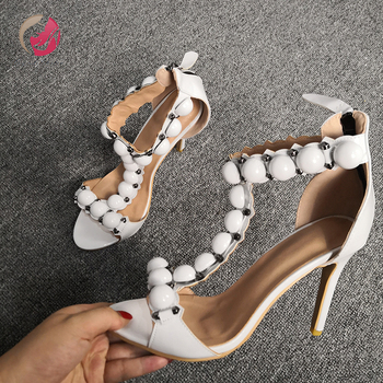 Original Intention New Button Decoration White Sandals Woman Open Toe Sexy Thin High Heels Party Dress Date Shoes Female 4-15