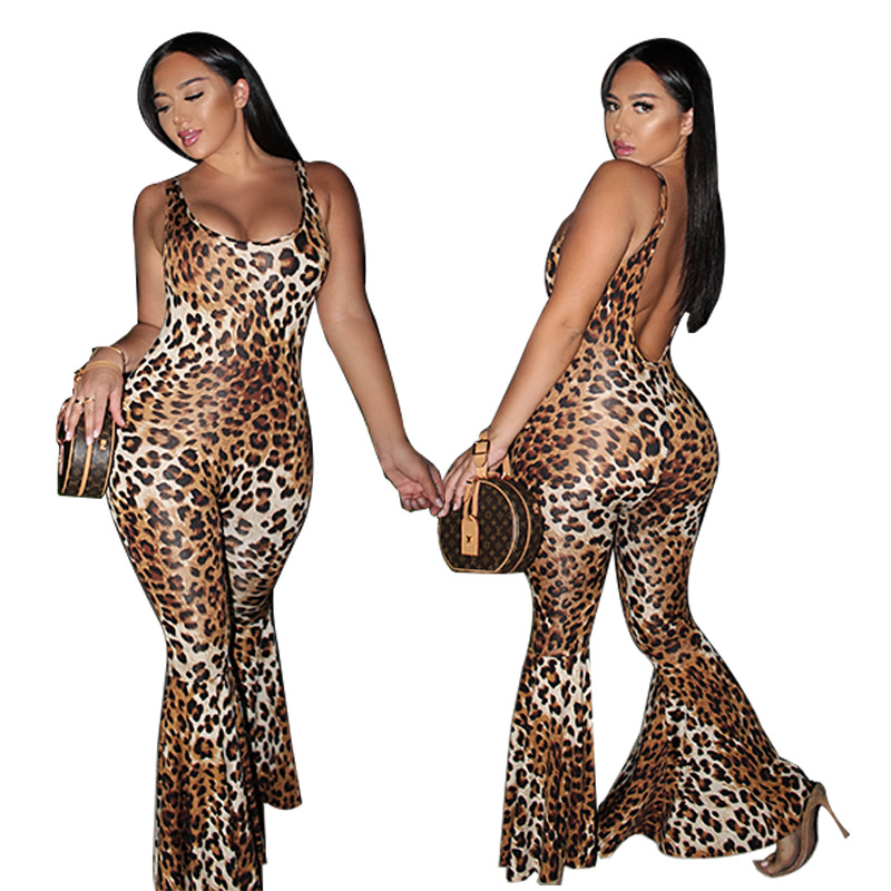 2019 New Arrival  Jumpsuits Full Length Casual Skinny Leopard Tassel Broadcloth Jumpsuits, Playsuits & Body