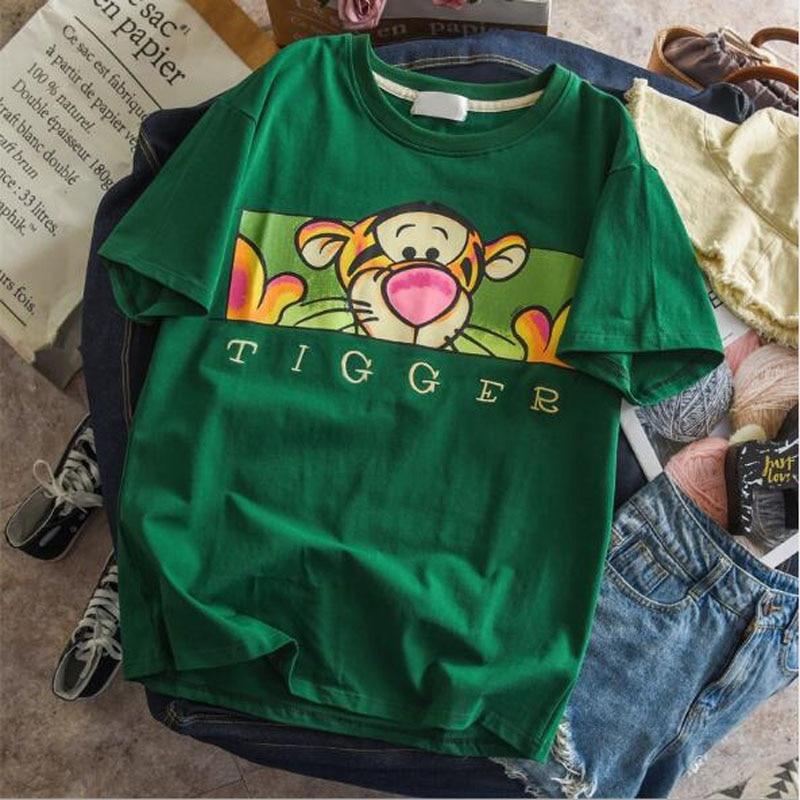 Spring Summer New T-shirt Woman Cute Cartoon Print Short Sleeve Round Neck Womens Tops Slim Fit Woman T Shirt