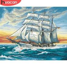 HUACAN картина маслом по номерам парусник декорации наборы для рисования холст DIY расписанные вручную картины морская раскраска искусство подарок домашний декор