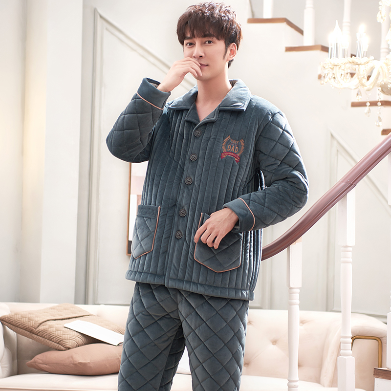 Winter Three Layers Quilted Pajamas Men Long Sleeved Coral Fleece Warm Soft Flannel Pyjamas Mens Lounge Solid Color Pajamas Set