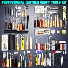 Profissional de couro artesanato ferramentas kit casa costura mão perfurador escultura trabalho sela leathercraft acessórios