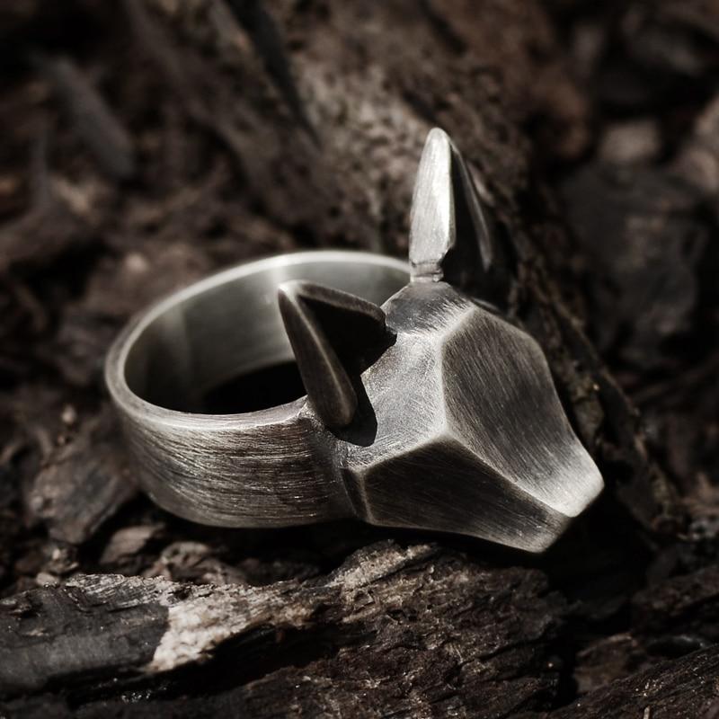 Originale disegno a mano 925 sterling argento degli uomini e delle donne di personalità foresta salto anello volpe pendenti
